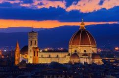 Noche de la catedral de Florencia Fotografía de archivo libre de regalías