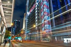 Noche de la ciudad en la central, Hong-Kong Imagen de archivo libre de regalías