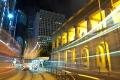 Noche de la ciudad en la central, Hong-Kong Fotografía de archivo