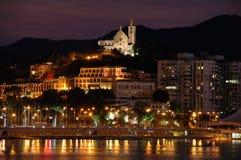 Noche de la ciudad y de la iglesia de Macau Fotografía de archivo libre de regalías