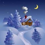 Noche de la luna del invierno. Foto de archivo libre de regalías