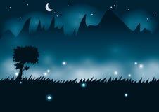 Noche de la montaña con las luciérnagas Fotografía de archivo libre de regalías