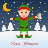 Noche de la Navidad con el duende verde feliz borracho stock de ilustración