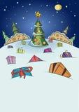 Noche de la Navidad con los regalos y la nieve que cae imagen de archivo