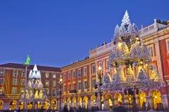 Noche de la Navidad en Niza Foto de archivo libre de regalías