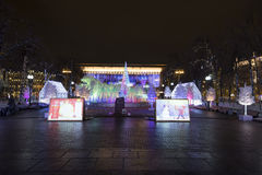 Noche de la Navidad Moscú --- Bosque de la música en viaje del ` del festival del cuadrado de Pushkin al ` de la Navidad, Rusia Foto de archivo