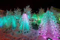 Noche de la Navidad Moscú --- Bosque de la música en viaje del ` del festival del cuadrado de Pushkin al ` de la Navidad, Rusia Imagenes de archivo