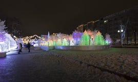 Noche de la Navidad Moscú --- Bosque de la música en viaje del ` del festival del cuadrado de Pushkin al ` de la Navidad, Rusia Fotos de archivo libres de regalías