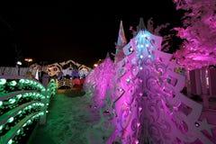 Noche de la Navidad Moscú --- Bosque de la música en viaje del ` del festival del cuadrado de Pushkin al ` de la Navidad, Rusia Fotografía de archivo libre de regalías