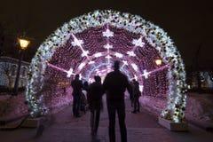 Noche de la Navidad Moscú-- El túnel ligero en el bulevar de Tverskoy, Rusia Imágenes de archivo libres de regalías