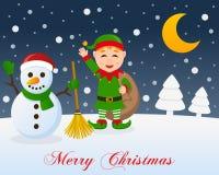 Noche de la Navidad, muñeco de nieve lindo y duende verde libre illustration