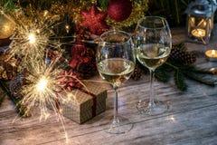 Noche de la Navidad romántica para dos Fotografía de archivo