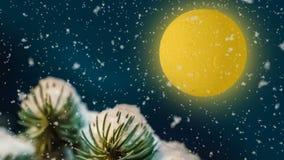 Noche de la Navidad, trineos de Santa Claus y ciervos que vuelan a través del cielo, la tarjeta animada del Año Nuevo ilustración del vector