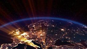 Noche de la tierra. Europa. ilustración del vector