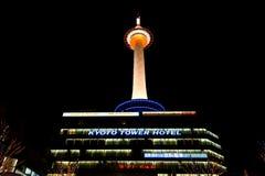 Noche de la torre de Kyoto TV Foto de archivo libre de regalías