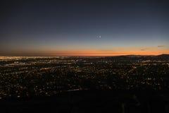 Noche de Los Ángeles y de Pasadena Foto de archivo libre de regalías