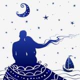 Noche de los amantes ilustración del vector