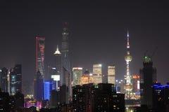 Noche de Lujiazui de Shangai China Imagen de archivo