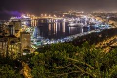 Noche de Málaga Imagen de archivo libre de regalías