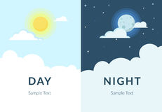 Noche de medio día del sol y de la luna con las nubes stock de ilustración