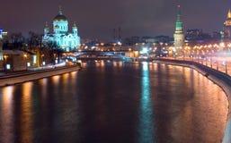 Noche de Moscú imagenes de archivo