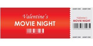 Noche de película de la tarjeta del día de San Valentín Fotos de archivo