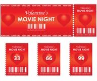 Noche de película de la tarjeta del día de San Valentín Fotografía de archivo