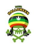 Noche de Rasta Halloween Adicto al cráneo con los dreadlocks y los huesos C Fotografía de archivo libre de regalías