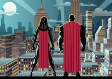 Noche de reloj de los pares del super héroe stock de ilustración