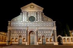 Noche de Santa Maria Novella Florence Firenze Tuscany Italy de los di de la basílica de la fachada fotografía de archivo libre de regalías