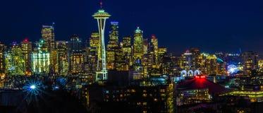 Noche de Seattle Fotos de archivo libres de regalías