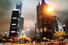 Noche de Shangai Lujiazui Imagen de archivo libre de regalías