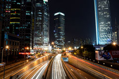 Noche de Shangai Lujiazui del chino fotos de archivo libres de regalías