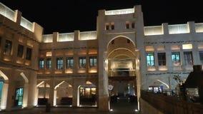 Noche de Souq Doha del halc?n almacen de metraje de vídeo