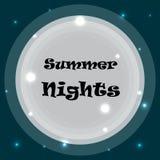 Noche de verano de la inscripción en el fondo de la luna en el cielo nocturno ilustración del vector
