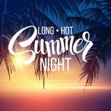Noche de verano Palmeras en la noche Vector Imágenes de archivo libres de regalías