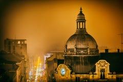 Noche de Zagreb diciembre fotos de archivo