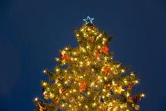 Noche del árbol de navidad Fotografía de archivo