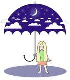 Noche del cielo del paraguas Imagenes de archivo