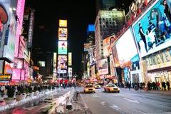 Noche del cuadrado del tiempo de New York City Manhattan Foto de archivo