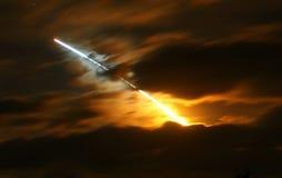 Noche del descubrimiento de la lanzadera de espacio   Foto de archivo