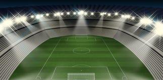 Noche del estadio de fútbol Imagen de archivo libre de regalías