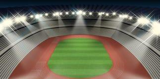 Noche del estadio del atletismo Imágenes de archivo libres de regalías