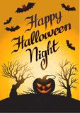 Noche del feliz Halloween: tarjeta del vector con la calabaza Imagen de archivo libre de regalías