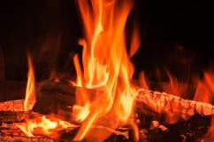 Noche del fuego de la llama Fotos de archivo