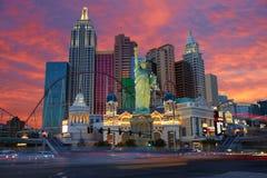 Noche del horizonte de Las Vegas fotos de archivo libres de regalías