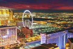 Noche del horizonte de Las Vegas foto de archivo libre de regalías
