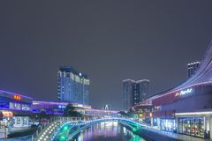Noche del horizonte de Suzhou fotos de archivo