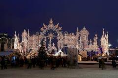 Noche del illuminationat de la Navidad (días de fiesta del Año Nuevo), Moscú, Rusia Foto de archivo libre de regalías