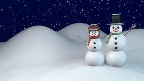 Noche del invierno con el muñeco de nieve y la nieve-mujer almacen de metraje de vídeo